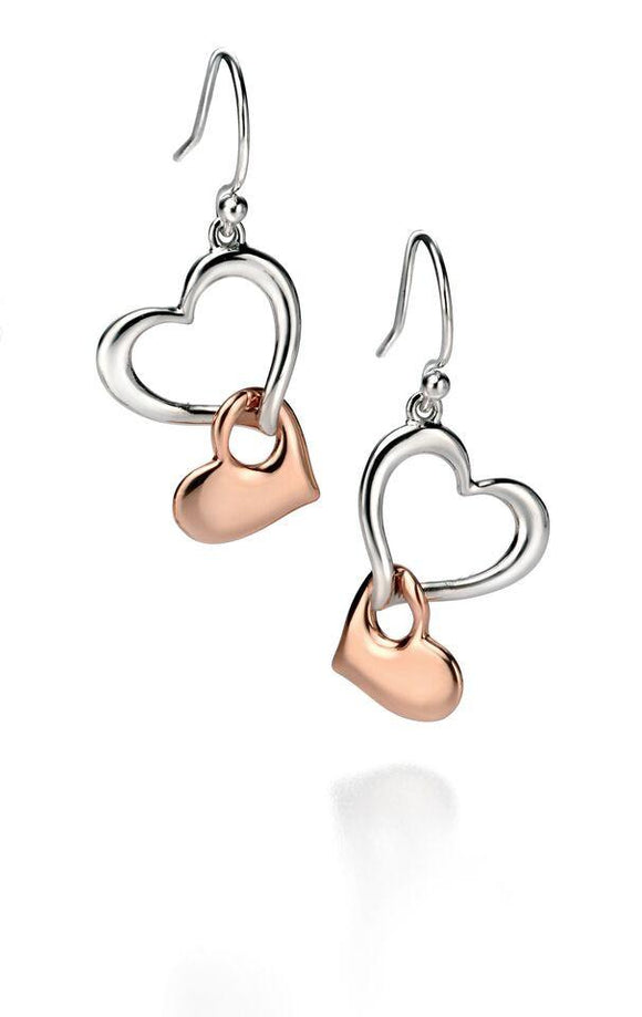 Fiorelli Rose Gold and Silver Hearts Earrings