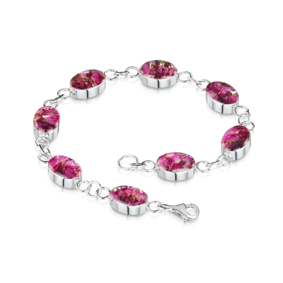 Real Flower Heather Bracelet with Oval Links