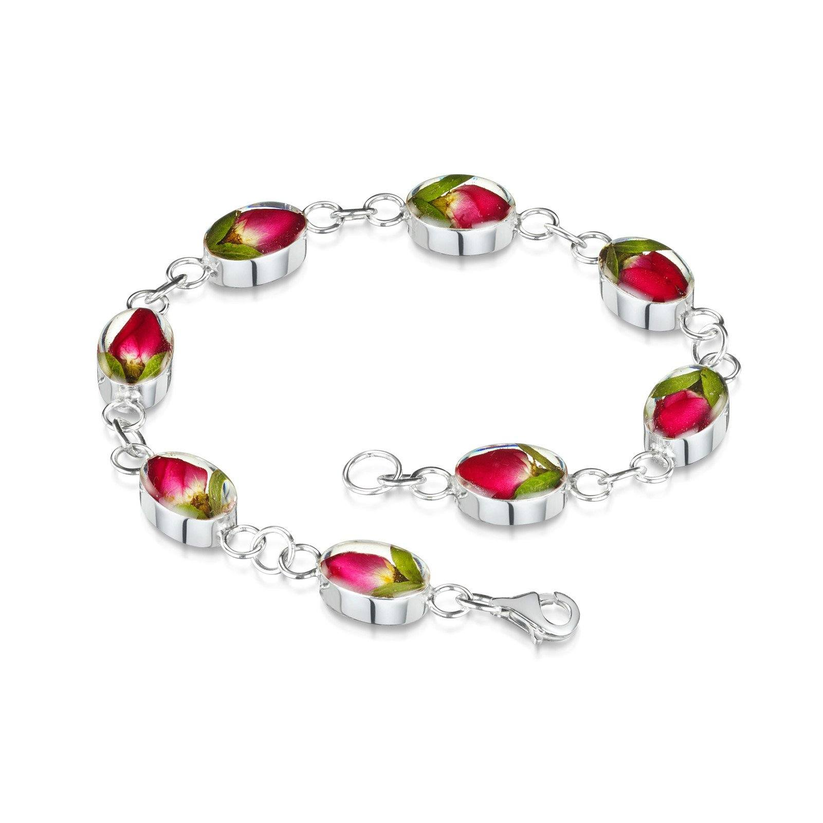 Real Flower Rose Bud Bracelet with Oval Links