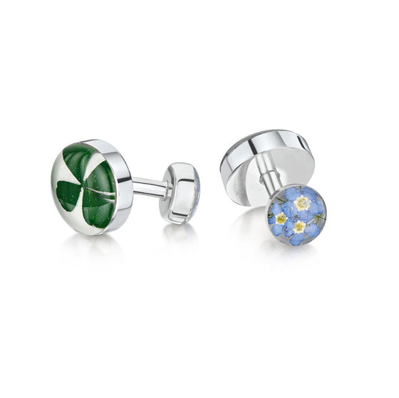 Four Leaf Clover and Forget-me-Not Cufflinks
