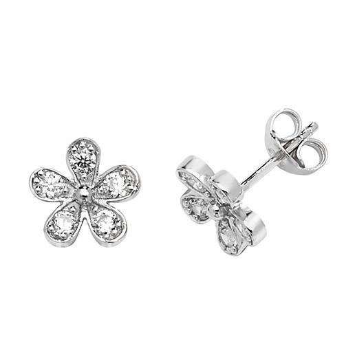 Silver Flower Earrings with Cubic Zirconia's Jewellery Treasure House Limited