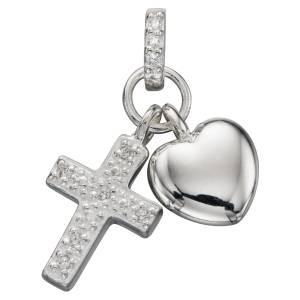 Girl's Silver Pendant with CZ Cross and Heart