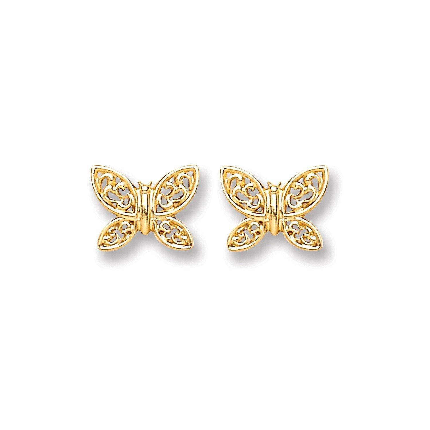 9ct Gold Butterfly Studs Jewellery Hanron