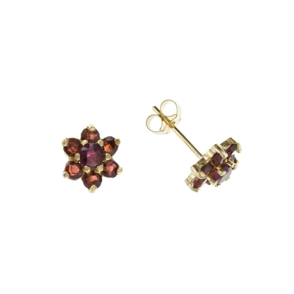 9ct gold garnet cluster flower stud