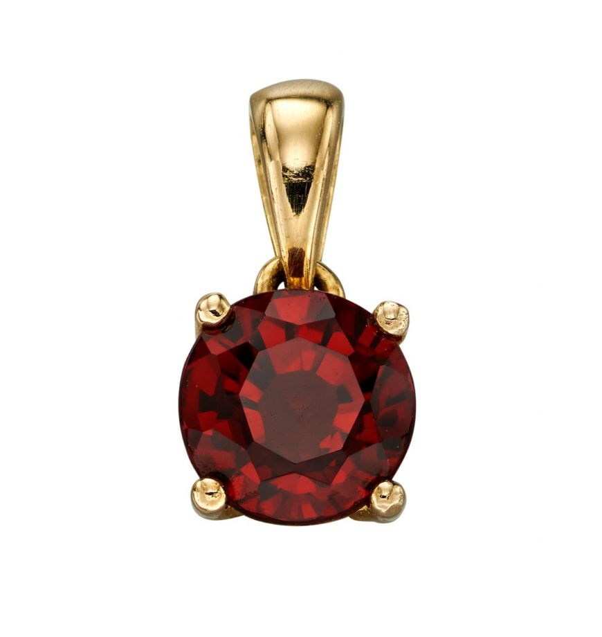 9ct gold garnet January birthstone pendant