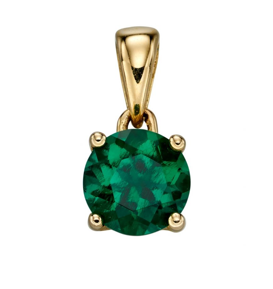 9ct gold May birthstone pendant with created emerald