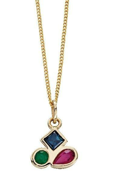 Gold Pendant with Emerald, Sapphire and Ruby Stones