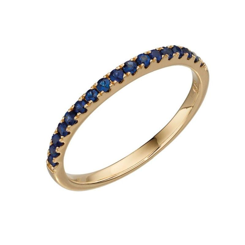 9ct Gold Sapphire Half Eternity Ring Jewellery Gecko L 1/2 (52)