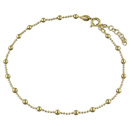 Gold Vermeil Beaded Anklet with Intermittent Balls