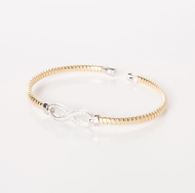 Gold and Silver Infinity Bangle with CZ Jewellery Bracini