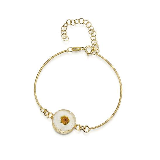 Gold on silver White Daisy bracelet