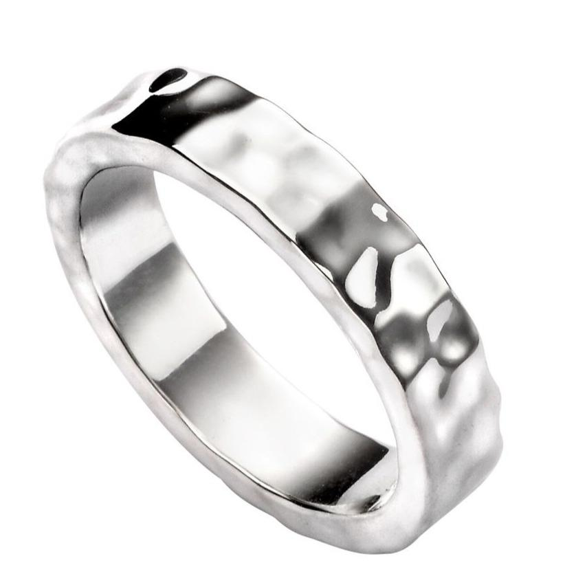 Hammered Silver Ring for Men in a flat design