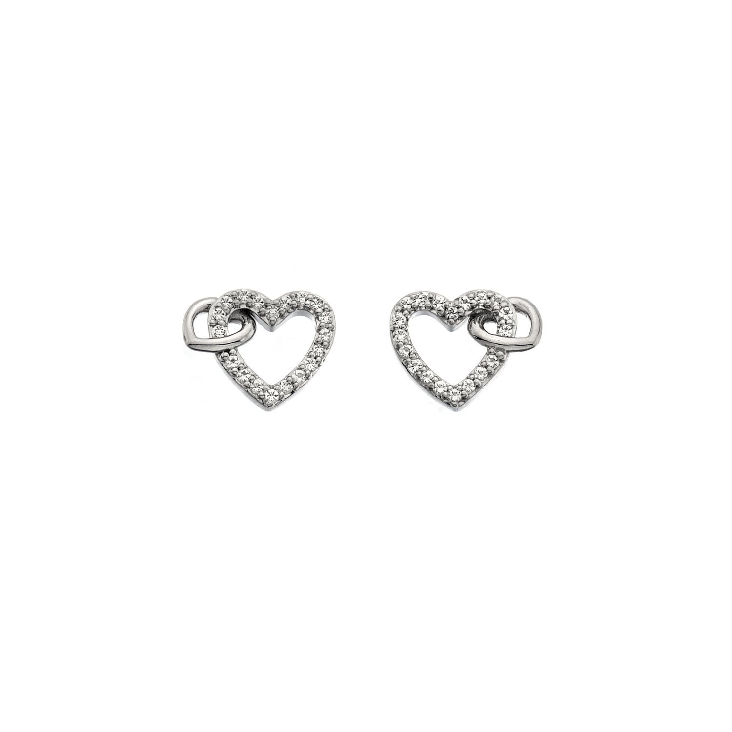 Silver White topaz stone-set open heart earrings from Hot Diamonds