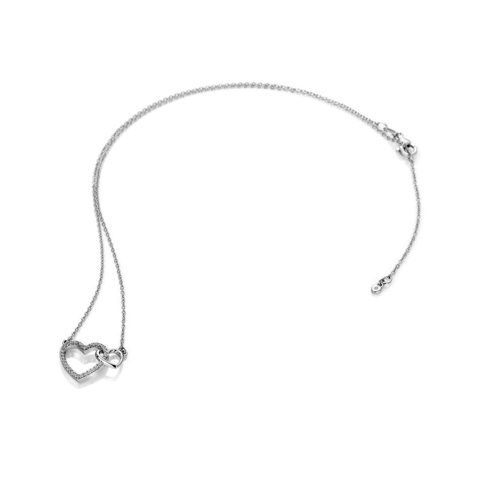 Hot Diamonds Togetherness Open Hearts Pendant with Diamond Jewellery Hot Diamonds