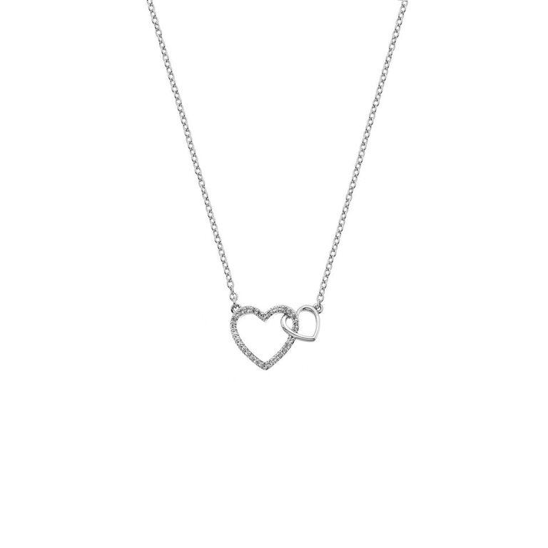 two intertwined open hearts, one set with cubic zirconia's, on a necklace