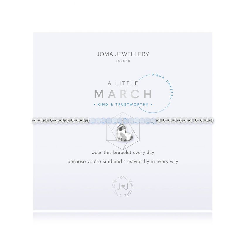 A Little March Birthstone Aqua Crystal Bracelet Jewellery Joma Jewellery