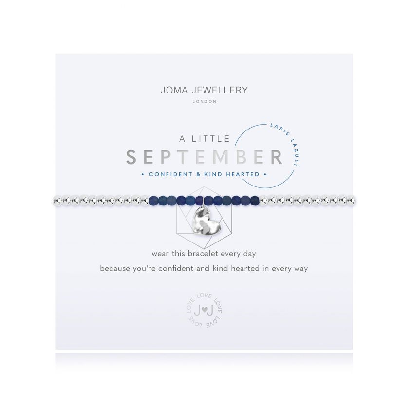 Stretchy silver-plated beaded bracelet with lapis lazuli beads for a September birthday