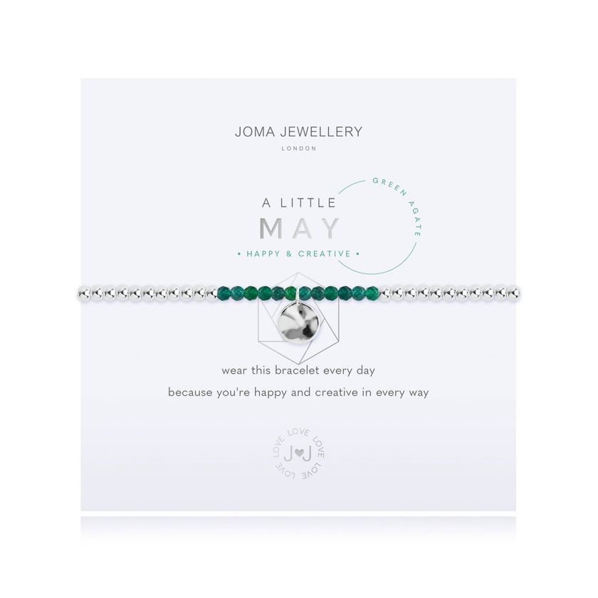 A Little Green Agate May Birthstone Birthday Bracelet Jewellery Joma Jewellery