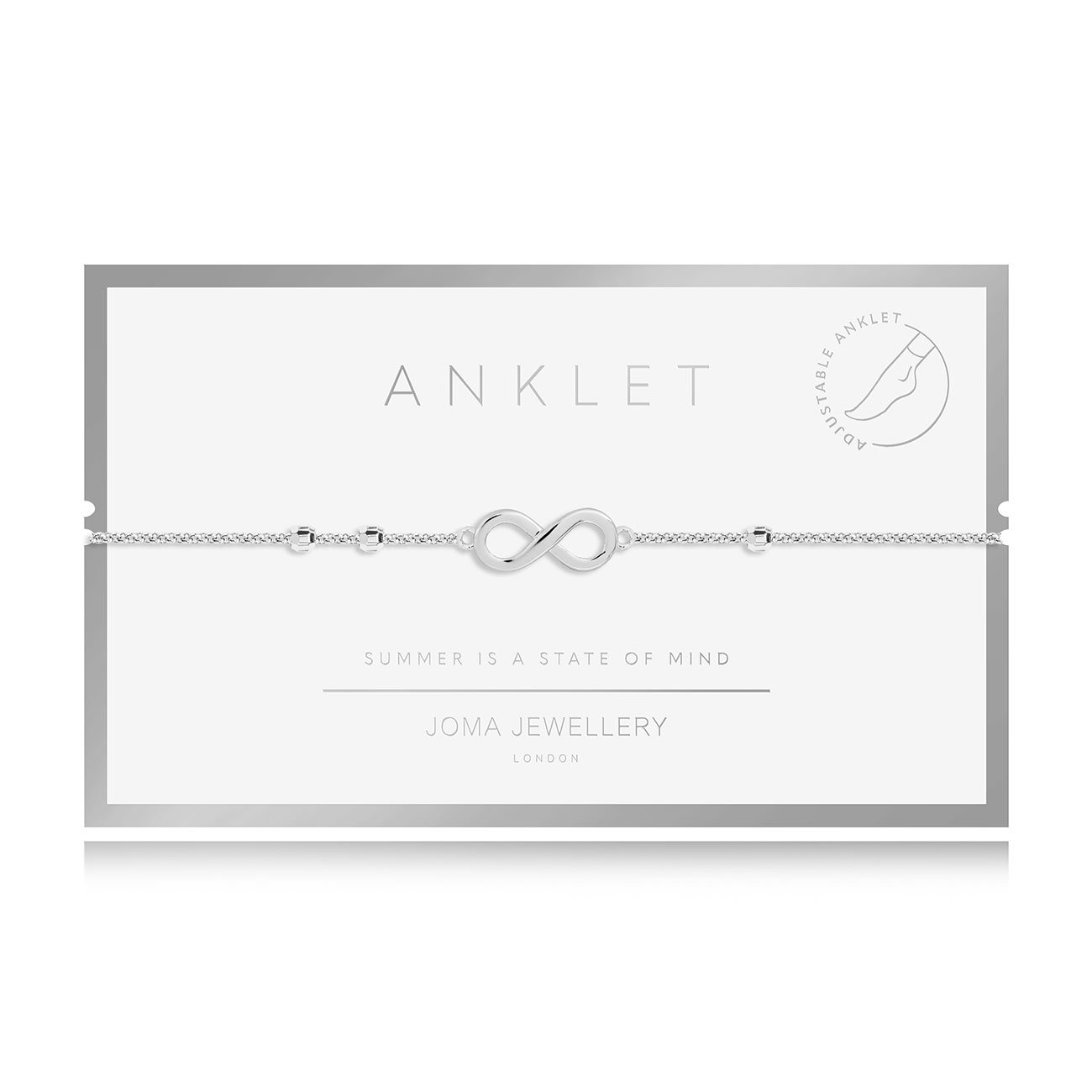 Silver plated adjustable anklet with an Infinity Sign
