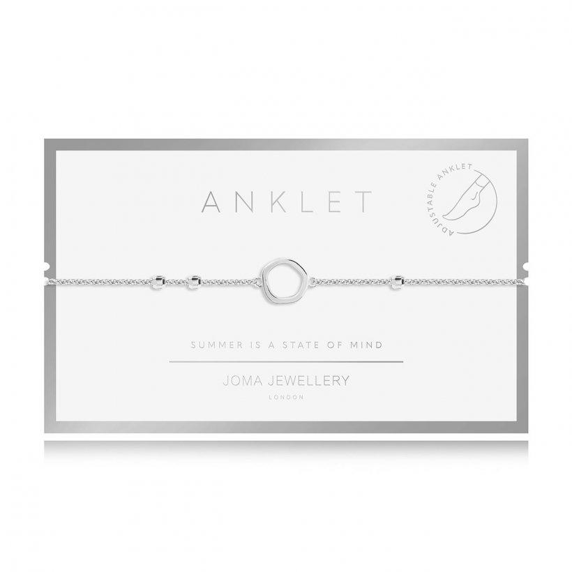 Silver plated adjustable anklet with an open loop