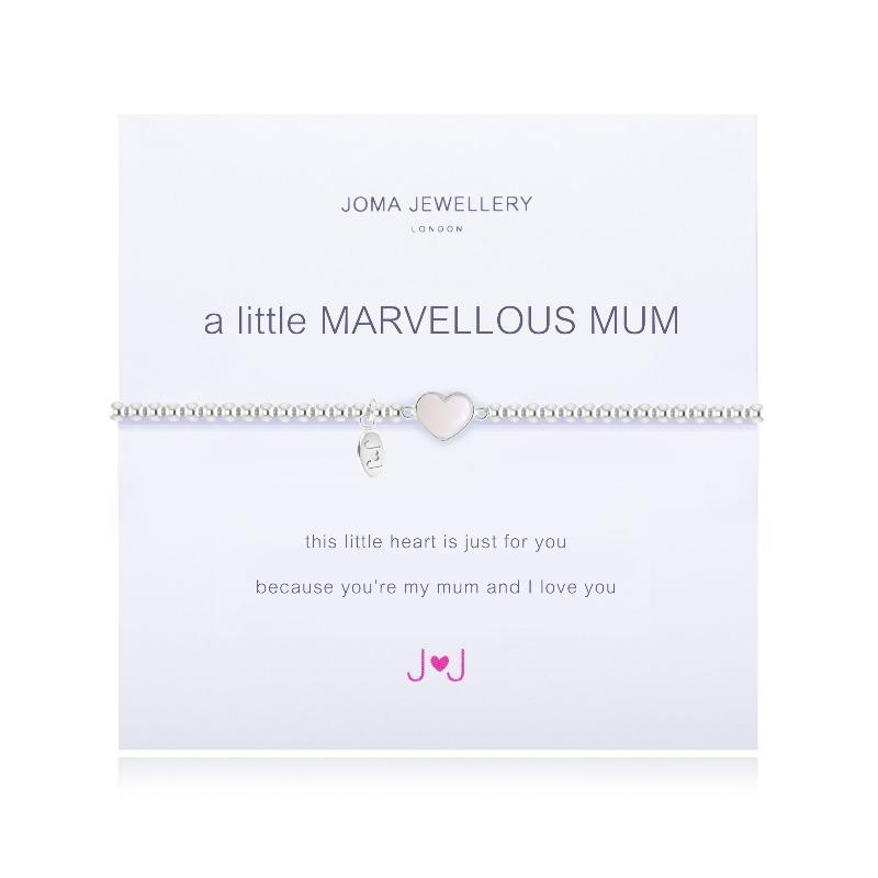 "Silver-plated stretchy beaded bracelet with a heart in the centre with a meaning card ""A Little Marvellous Mum"""