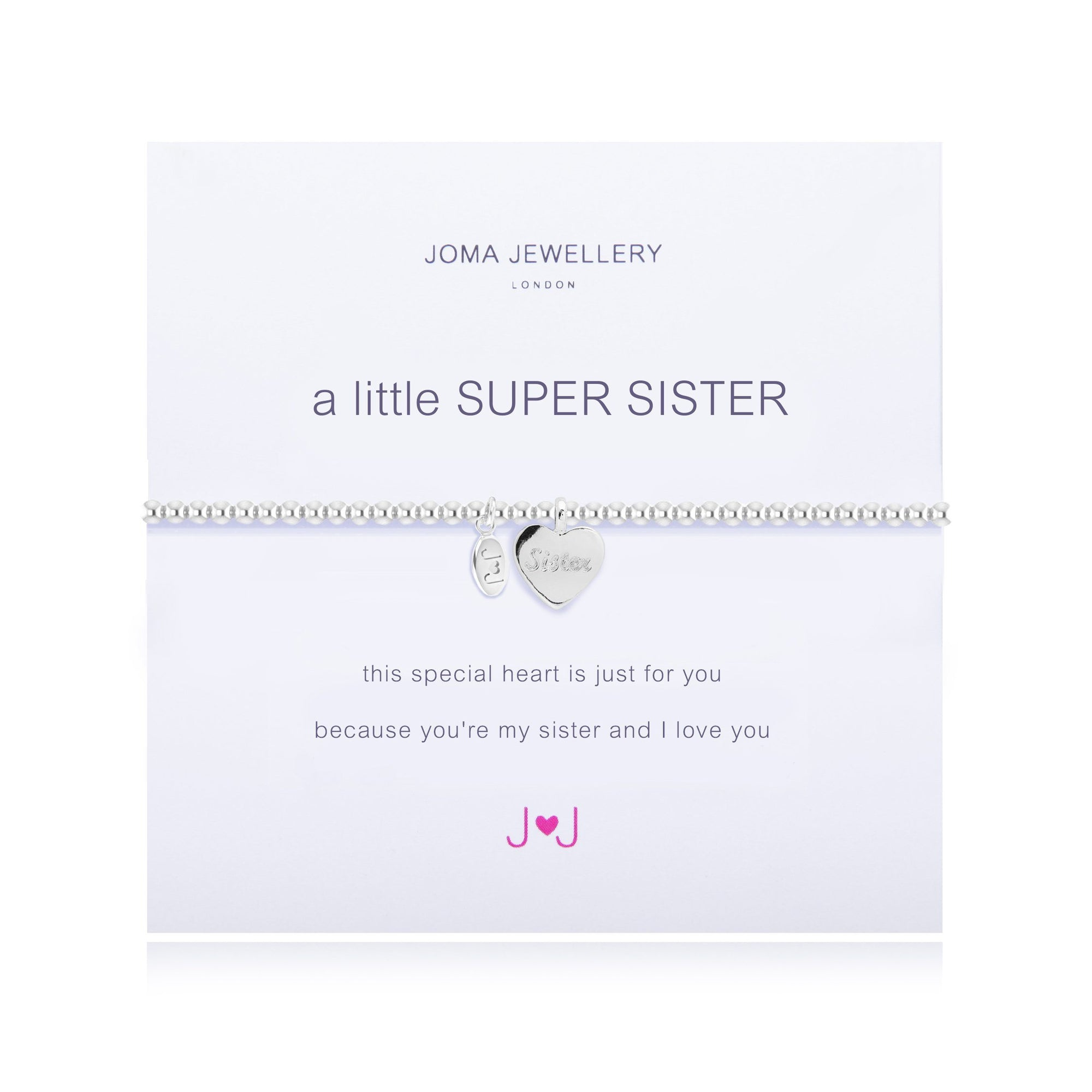 "Stretchy beaded bracelet in silver plate with polished heart dangle charm on a ""super Sister"" meaning card"