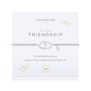 Joma Friendship Bracelet - a beaded, stretchy silver bracelet with two intertwined open hearts in the centre