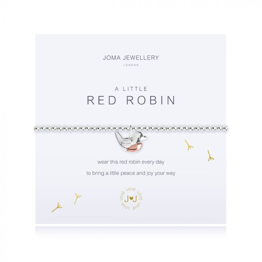 "Joma ""A Little Red Robin"" beaded stretch bracelet with robin charm dangle with rose gold presented on a meaning card"