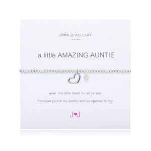 Stretchy, beaded bracelet with central open heart charm dangle on a meaning card saying 'Amazing Auntie'
