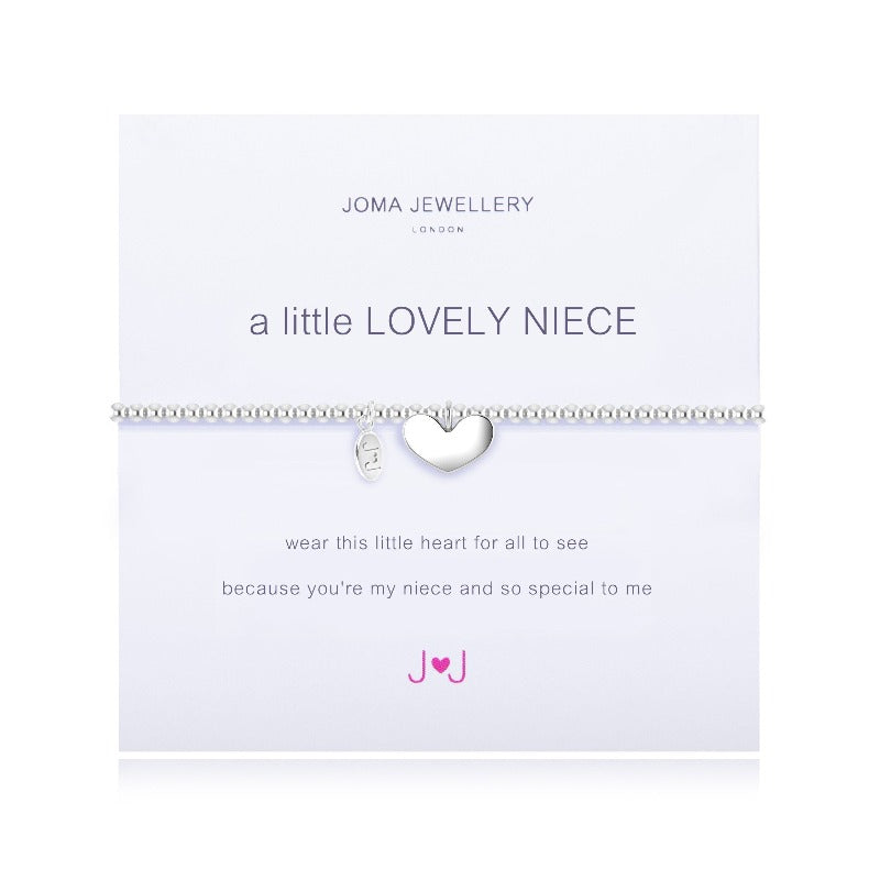 "A stretchy, silver-plated beaded bracelet with a polished heart charm dangling from the centre, presented on a meaning card saying, ""A Little Lovely Niece"""