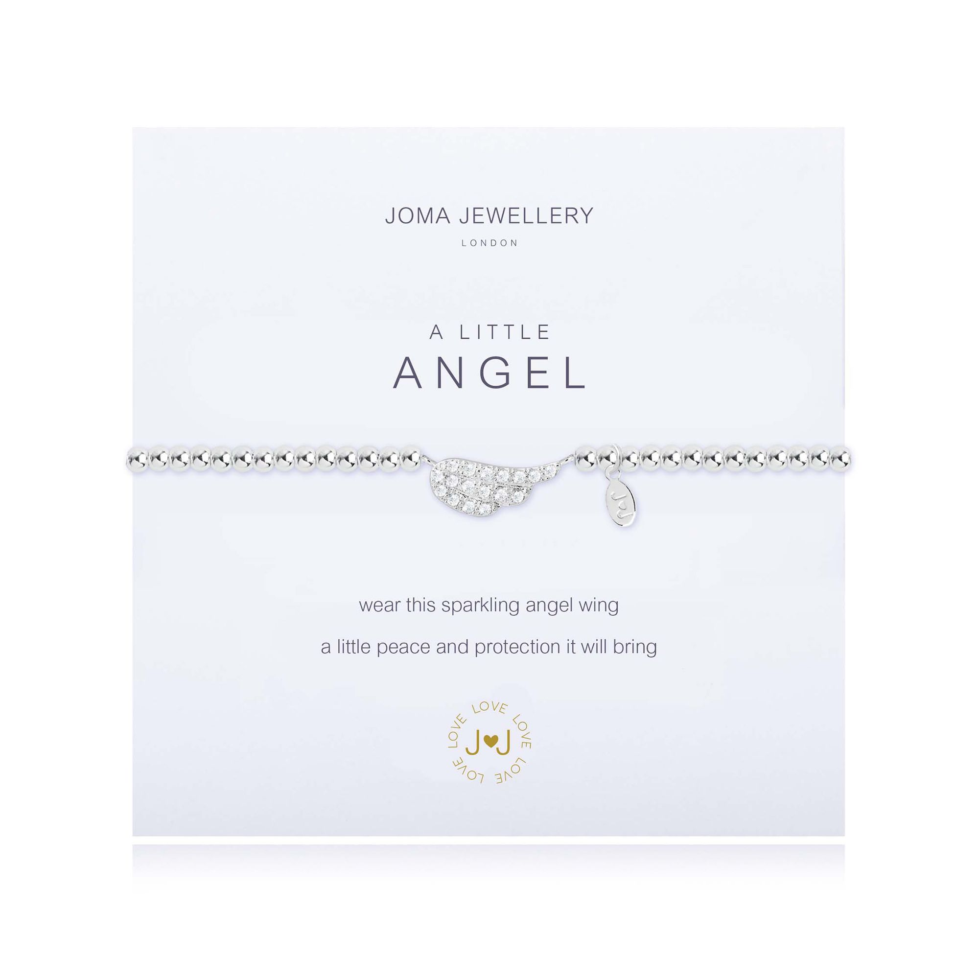 "Silver-plated stretchy beaded bracelet with an angel's wing charm in the centre, studded with stones, on a meaning card saying ""A Little Angel"""