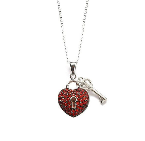 Silver Red Heart Necklace