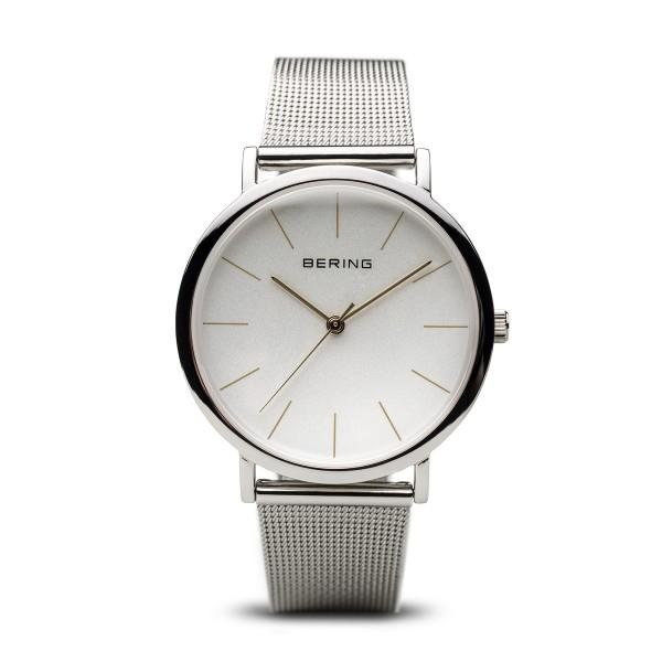 Ladies Bering watch 13436-001 with mesh silver strap, white dial and minimalist look