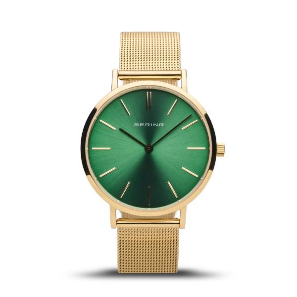 Bering Ladies watch with gold case and mesh strap and vibrant green dial