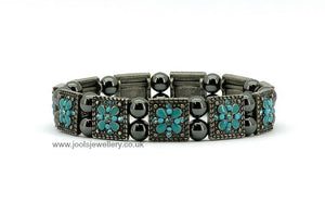Magnetic Hematite Bracelet with turquoise flowers