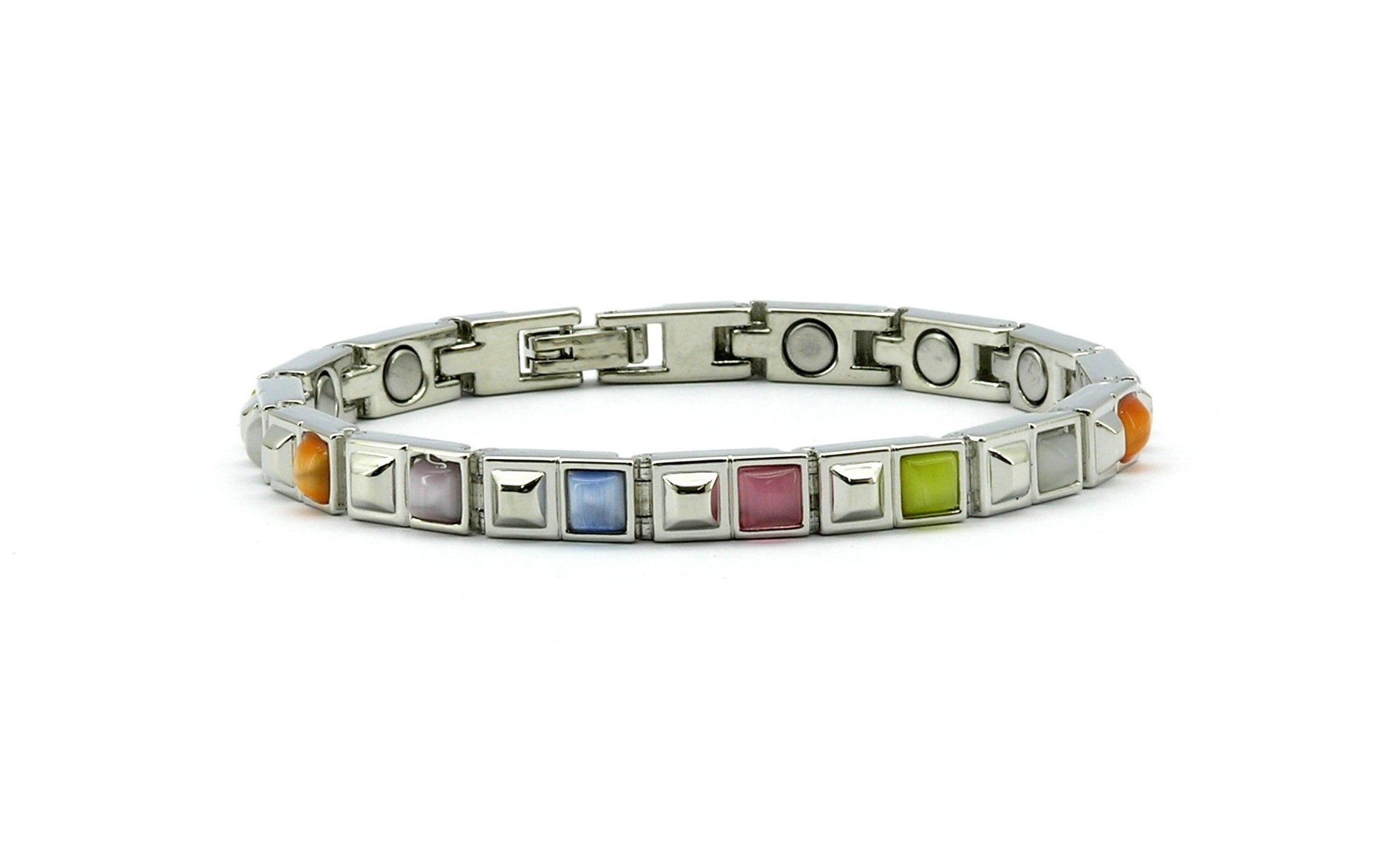 Magnetic bracelet with coloured square links