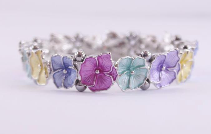 Magnetic Hematite bracelet with multi-coloured flowers