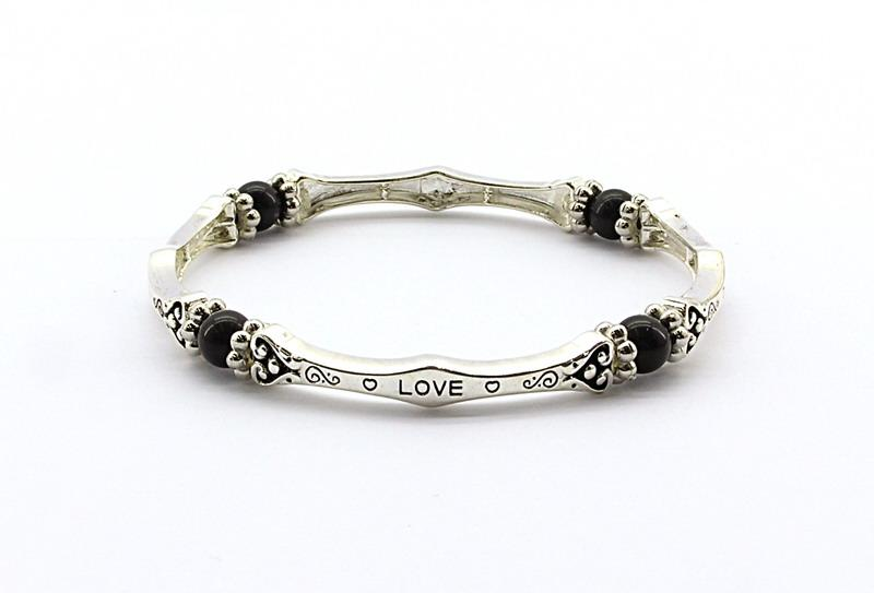 Elasticated Magnetic Hematite 'Love' Bracelet Jewellery Coppercraft