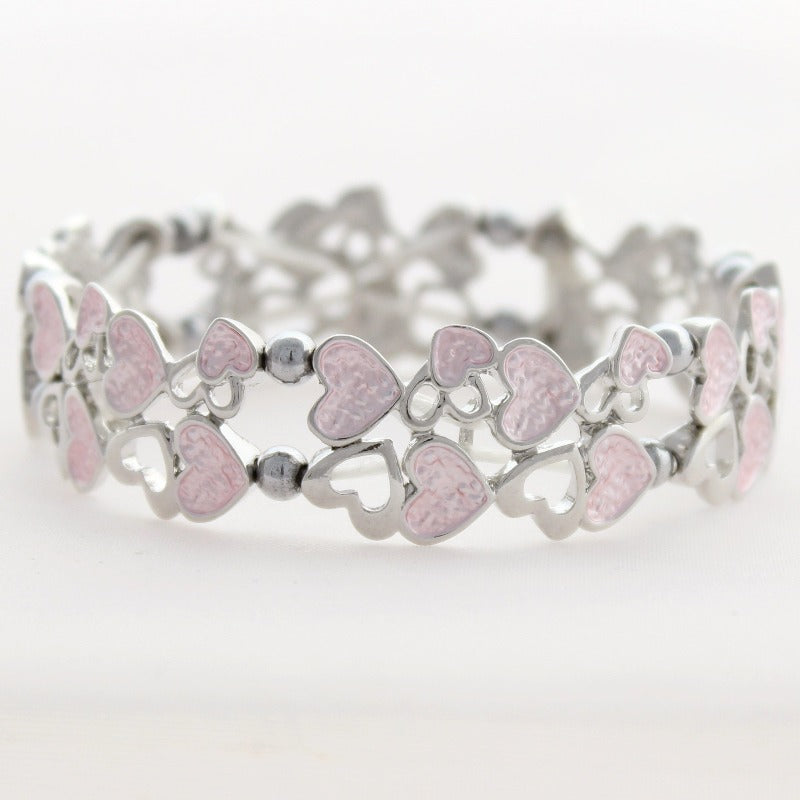 Hematite Magnetic Bracelet with Pink Hearts