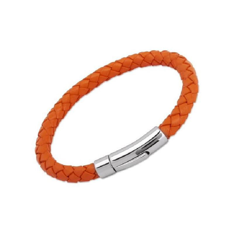Mens Orange Leather Bracelet Jewellery