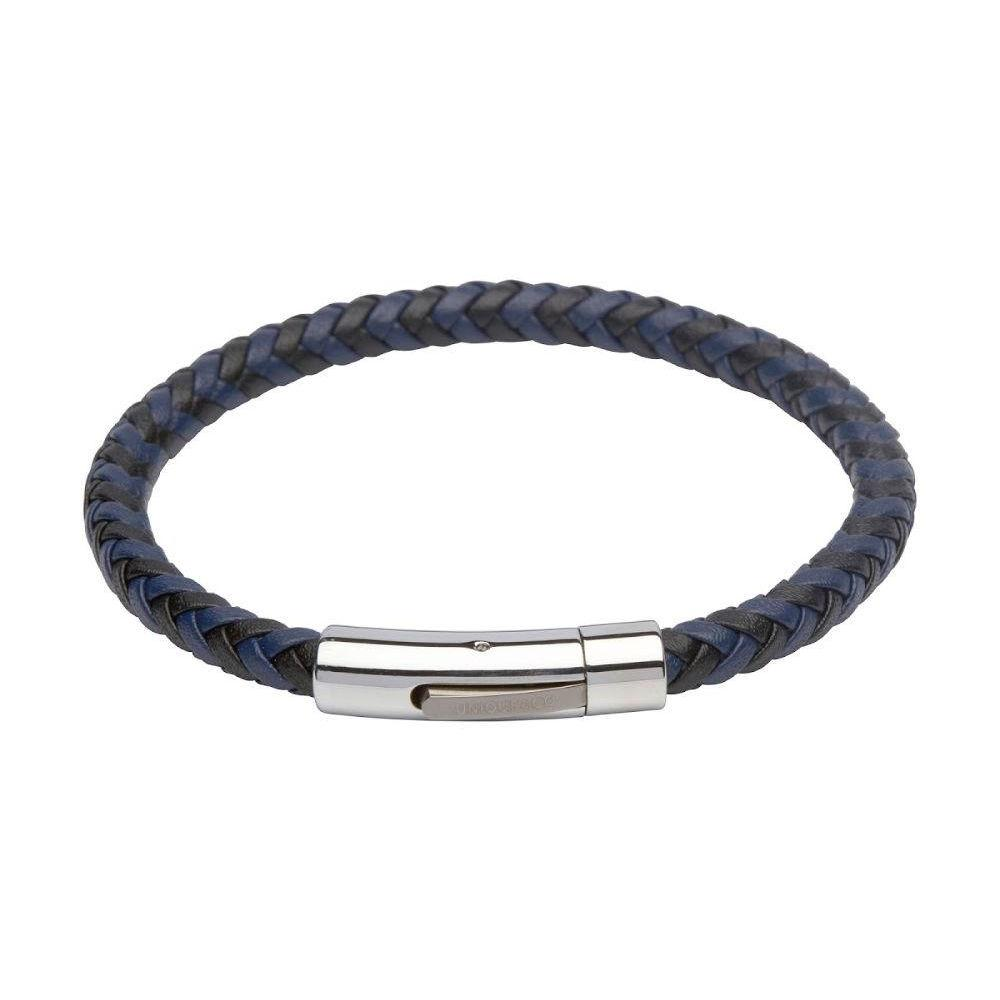 Men;s woven leather bracelet in two-tone black and navy blue with stainless steel clasp