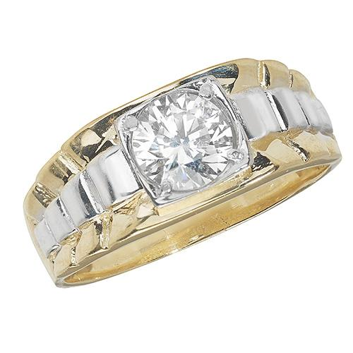9ct White and Yellow gold ring for men set with a central large cubic zirconia stone