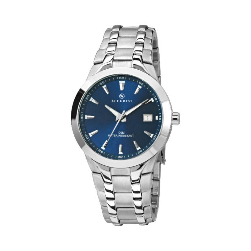 Men's Accurist Watch with Blue Dial, stainless steel bracelet and case and silver batons, with date function