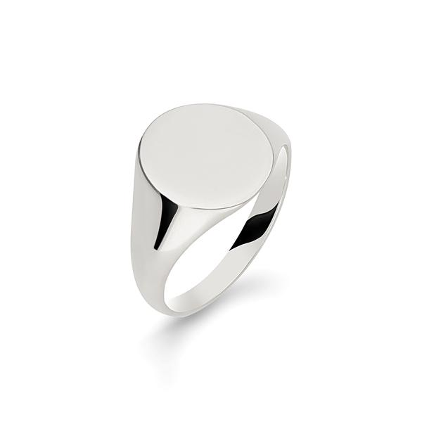 Men's Argentium Silver Oxford Oval Signet Ring for Men Jewellery Allied Gold O