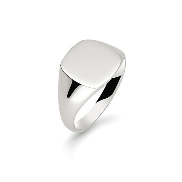 Men's Argentium Silver Cushion Signet Ring Jewellery Allied Gold O