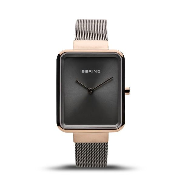 Rose Gold and Grey Bering Men;s watch with milanese (mesh) strap and oblong case
