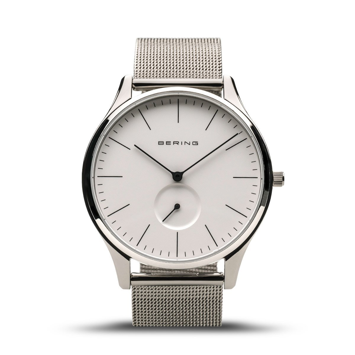 Bering Men's Watch with white dial and mesh strap