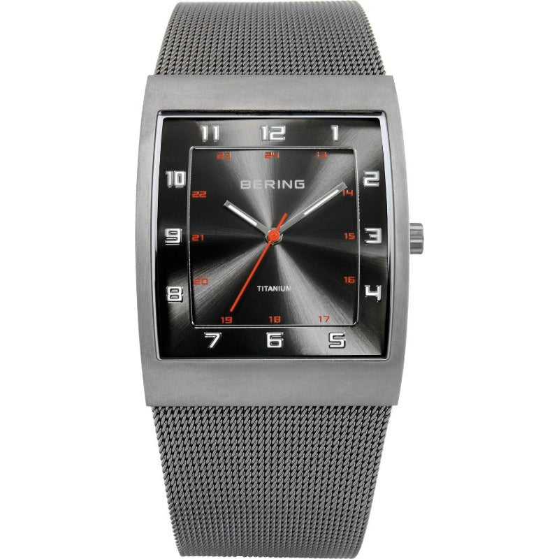 Men's Bering watch with oblong case, Milanese (mesh) strap and slate grey sunray dial