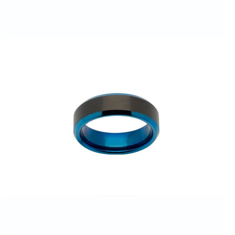Men's Black and Blue Tungsten Ring Jewellery Unique O 3/4