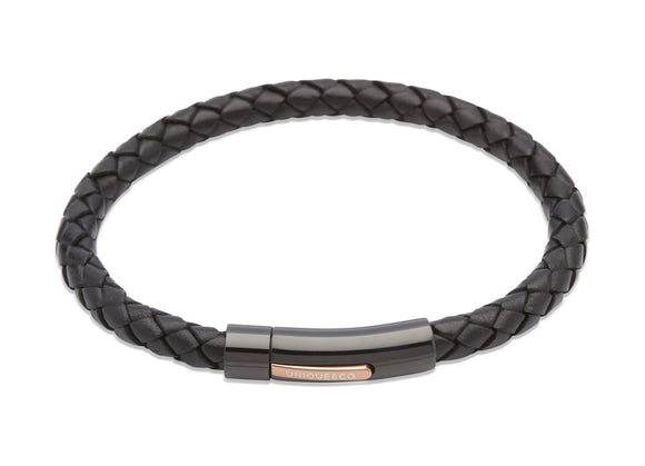 Mens-Black-Leather-Woven-Bracelet-with-Black-and-Rose-Gold-IP-Plated-Clasp-from-Jools